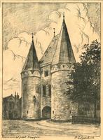 K001233 Potloodtekening van de Koornmarktpoort uit 1e kwart van de 20ste eeuw.