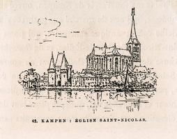 K001791 '42. Kampen: Église Saint-Nicolas'. Zicht op de Koornmarktspoort en Bovenkerk.