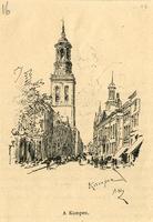 K001760 Oudestraat met Oude en Nieuwe Raadhuis en Nieuwe Toren, gezien vanuit de Oudestraat ter hoogte van de St. ...
