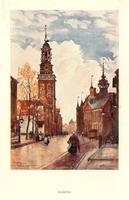 K001759 De Oudestraat met Oude en Nieuwe Raadhuis en Nieuwe Toren, li. onder gesigneerd en gedateerd 'Herbert Marchall '97'.