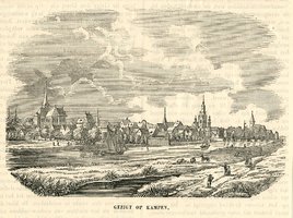 K001754 Gezigt op Kampen, een prent uit het midden van de 19e eeuw, en afkomstig uit een Nederlands werk.