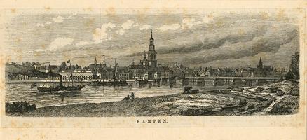 K001755 Gezicht op de stad Kampen, een afbeelding van de stad uit het midden van de 19e eeuw, gesigneerd: Van ...