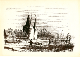 K001751 Koornmarktpoort, een pentekening van de IJsselkade zoals het eruit zou hebben kunnen zien rond 1850, gesigneerd ...