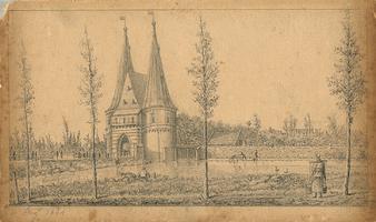 K001800-23 10 Augt 1844 . Mooie potloodtekening, iets met inkt bijgewerkt. De Cellebroederspoort met daarnaast de sluis ...