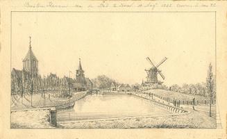 K001800-26 Buiten Haven na de Stad te zien, 15 Augt 1842 voorm. 11 uur RG . Gezicht op de Buitenhaven. Links vooraan de ...