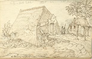 K001801-04 'In Grafhorst. Ruïne van Aaltje en Hille Dekker, op hetzelfde tafereel die van de weduwe Mannes Hein'. ...