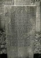 F004011 Grafsteen van Marianna Krost-Meijer, geboren 16 september 1825/4 Tischrie (5)586). - H(ier is) b(egraven) de ...
