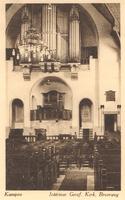F000258 Interieur met orgel van de Nieuwe Gereformeerde Kerk.