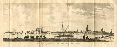 K000320 'De stad Kampen, van den dijk te zien'. Op deze afbeelding uit ca. 1792 is een deel van de stadsmuur, de ...