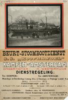 F002674 Dienstregeling Beurt-Stoomdienst Kampen - Amsterdam, met dienstregeling en tarieven, ondernemer: H. ...