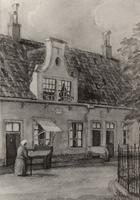 F000503 De binnenplaats van de Gast- en Proveniershuizen aan de Burgwal, de aquarel is gemaakt door A. Jakma.