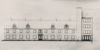 F000486 Foto van de tekening van de binnengevel van Huize Myosotis aan de Burgwal.