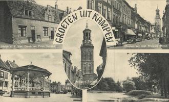 F000089 Verzamelkaart (Groeten uit Kampen) l.b. Hofje van de Ver. Gast- en Prov. huizen; r.b. Oudestraat gezien met ...