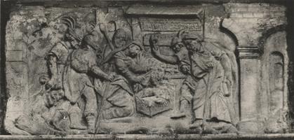 F000324 Gevelsteen met een afbeelding van de aanbidding der herders in de voorgevel van de Bethlehemvergadering in de ...