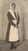 F000579 Mevr. Veldhuis als weesmeisje, geschilderd door Emile Moulin in 1914.