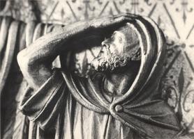 F000981 Detail van de communiebank met het paneel de verkondiging aan de herders in de Onze Lieve Vrouwe- of Buitenkerk.