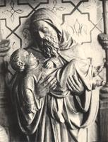 F000973 Detail van de communiebank met het paneel de opdracht in de Tempel in de Onze Lieve Vrouwe- of Buitenkerk.