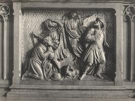 F000980 Paneel van de communiebank in de Onze Lieve Vrouwe- of Buitenkerk, voorstellend de verkondiging aan de herders.