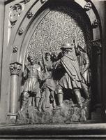 F000948 Reliëf van Bonifatius bij Dokkum vermoord op het deurtje van de preekstoel uit 1650.