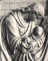 F000967 Detail van de communiebank met het paneel de geboorte van Christus in de Onze Lieve Vrouwe- of Buitenkerk.