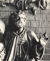 F000968 Detail van de communiebank met het paneel de geboorte van Christus in de Onze Lieve Vrouwe- of Buitenkerk.
