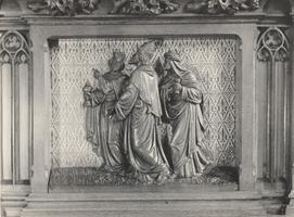 F000969 Paneel van de communiebank in de Onze Lieve Vrouwe- of Buitenkerk, voorstellend de drie Wijzen.