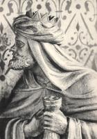 F000970 Detail van de communiebank met het paneel de drie Wijzen in de Onze Lieve Vrouwe- of Buitenkerk.