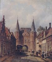 F000656 Het dagelijkse leven aan de Broederweg, op de achtergrond de Broederpoort, geschilderd door E.A. Hilverdink in 1880.