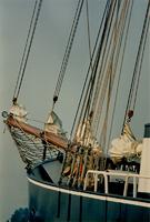 F011658 De voorsteven van één der schepen van de bruine vloot, de voorsteven is het voorste deel van een schip, waar de ...