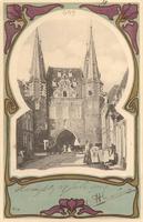 F000659 Het dagelijkse leven in de Broederweg, op de achtergrond de Broederpoort, een fraai vorm gegeven beeld van dit ...