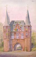 F000681 Stadszijde van de Broederpoort. Een reproduktie van een aquarel, getekend door Jaap Spijer - uitgave VVV Kampen ...