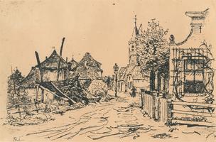 F009918 IJsselmuiden, Dorpsweg ter hoogte van huize Java, thans nr. 37. Reproduktie naar een ets van W.B. Tholen.