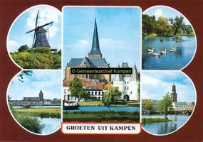 F005684 Verzamelkaart van Kampen met afbeeldingen van de molen d'Olde Zwarver, Bovenkerk, Koornmarktspoort en IJsselfront.