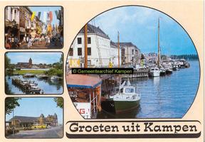 F005689 Verzamelkaart van Kampen met afbeeldingen van de Oudestraat, de Buitenkerk, het N.S. station en de IJsselkade.
