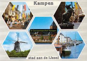 F005683 Verzamelkaart van Kampen met afbeeldingen van de Oudestraat, het beeld van de Koe, de molen d' Olde Zwarver, de ...