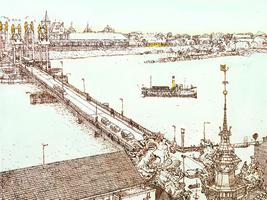 Horst 07 De in 1998-1999 gebouwde stadsbrug in vogelvluchtperspectief. Het is mischien niet de fraaiste versie in de ...