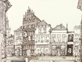 Horst 09 Gevelrij in de Oudestraat (benedenstrooms). De hoge natuurstenen gevel van het laat-middeleeuwse Gotische Huis ...