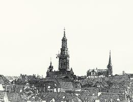 Horst 15 Panoramisch vogelvluchtperspectief vanaf de Van Heutszkazerne richting Gotisch Huis, Nieuwe Toren en ...