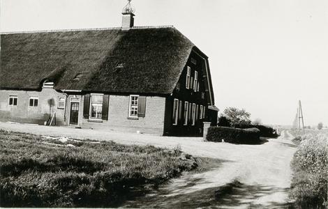 Langhuisboerderij Julianahoeve voorgevel en linker zijgevel, rechts een landweg met houten telefoonpalen.