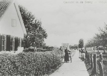 De Boomgaardweg (voorheen De Steeg, ook wel Dodenweg genoemd), hoek Wethouder Hollaan met links het huis van de ...