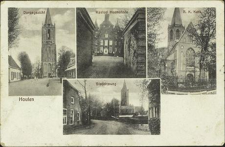 Prentbriefkaart met vier foto's van: de Burgemeester Wallerweg met de Nederlands-hervormde kerktoren, kasteel ...