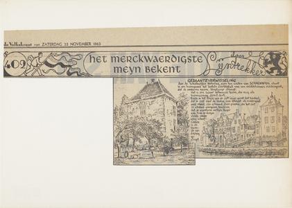 Krantenartikel met een tekening van kasteel Vuylcoop met daarbij een tekening naar een historische prent van het kasteel.