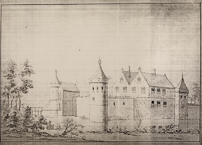 Gezicht over de gracht op de voorzijde van huis Bloemensteyn, met ophaalbrug, onder Honswijk te Tull en 't Waal ...