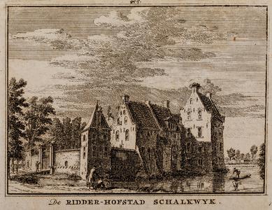 Gezicht over de gracht op de voorzijde van huis Schalkwijk (gemeente Houten), met ophaalbrug (no. 277)