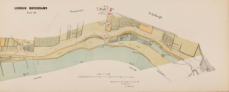 Kaart van den Lekdijk Bovendams. Opgemeten en in kaart gebracht in de jaren 1874, 1875 en 1876 door den dijkmeester ...