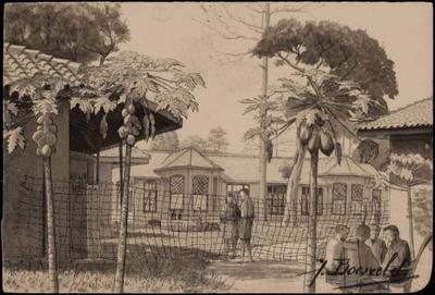 Militair Hospitaal in Tjimahi. Tekening van J. Boesveld.<br/>NIOD 179227 <a class=uline href=http://www.beeldbankwo2.nl target=_blank>Beeldbank WO2</a>