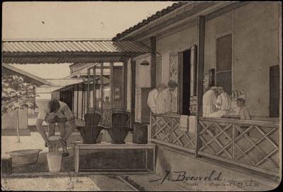Militair Hospitaal in Tjimahi. Tekening van J. Boesveld, 23 juli 1944.<br/>NIOD 179236 <a class=uline href=http://www.beeldbankwo2.nl target=_blank>Beeldbank WO2</a>