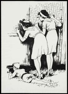 Twee meisjes en een jongen gluren door het gedek, zeer waarschijnlijk in kamp Ambarawa 7. Tekening van J. Gabriëlse, 1943-1944.<br/>NIOD 179560 <a class=uline href=http://www.beeldbankwo2.nl target=_blank>Beeldbank WO2</a>