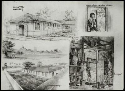 Drawing by A. de Groot, made in Camp Tjikoedapateuh (15th Bat.) in March 1944.<br/>NIOD 179575 <a class=uline href=http://www.beeldbankwo2.nl target=_blank>Beeldbank WO2</a>