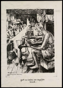 Drawing by A. de Groot, made in Camp Tjikoedapateuh (15th Bat.) in March 1944.<br/>NIOD 179577 <a class=uline href=http://www.beeldbankwo2.nl target=_blank>Beeldbank WO2</a>